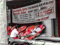 Road side body massage. royalty free stock photo