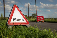 Road side flooded sign Stock Image
