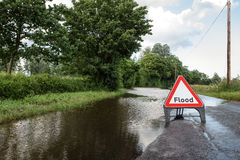 Road side flooded sign Royalty Free Stock Photo
