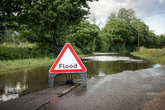 Road side flooded sign Stock Images