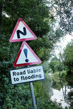Road side flooded sign Stock Photos