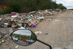 Road side full of trash stock photo