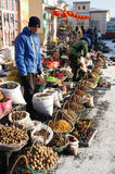 Road side hawkers. Hawkers selling local produce in Harbin China stock photography