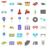 Road sigh icons set, cartoon style Stock Photography