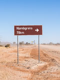 Road sigh for Namibgrens in Namibia, Africa Royalty Free Stock Image