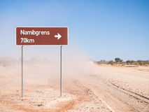 Road sigh for Namibgrens in Namibia, Africa Stock Images