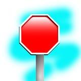 Road sign 1. Blank stop sign frame against blue background royalty free illustration
