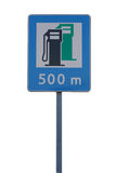 Road sign. For a gas station royalty free stock images