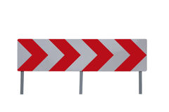 Road sign. Warning traffic sign board red arrows white background royalty free stock photos