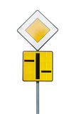 Road sign. A priority symbol stock image