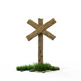 Road sign. Old wooden road cross with grass and stones Royalty Free Stock Images