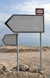 Road sign. Showing the directions, Dead sea, Israel Stock Image
