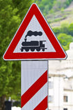Road sign. To indicate the passage of the train Stock Photo