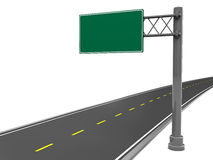 Road sign. 3d illustration of empty road sign and asphalt road, over white background Stock Photography