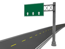 Road sign. 3d illustration of road sign and road, over white background Royalty Free Stock Image