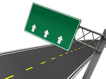 Road sign. 3d illustration of blank road sign with arrows, and asphalt road Stock Image