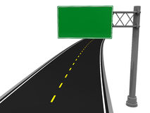 Road sign. 3d illustration of asphalt road and blank road sign Stock Photos