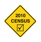 Road sign - 2010 census. Black on yellow Stock Photo