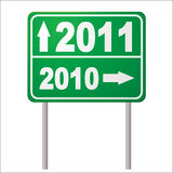 Road sign 2011. New year road sign for 2011 with arrow and metals post Vector Illustration