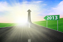 Road sign 2013 background. Road sign showing 2013 path way upward royalty free illustration