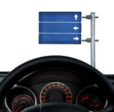 Road sign. Dashboard and road sign over white Royalty Free Stock Image