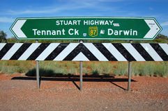 Road sign. In Australian outback Stock Photo