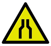 Road sign. Road narrow sign - computer generated image Stock Image