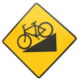 Road Sign. A Slope Sign For The Bike Riders Royalty Free Stock Images