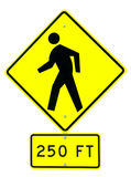 Road Sign. A Pedestrian Road Sign With 250 FT Caution Stock Photos