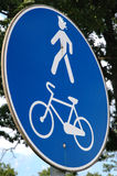 Road sign. Bicycle and pedestrian lane Royalty Free Stock Photo