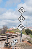 Road Sign. For trains in the city Stock Image