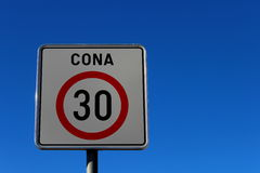 Road sign 30 km/h Stock Image