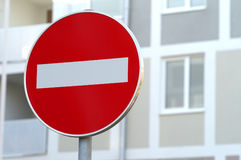 Road sign. For forbidden traffic in one way Stock Photography