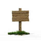 Road sign 6. Old wooden road  billboard with green grass and stones Royalty Free Stock Images