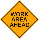 Road Sign. Orange road sign - work area ahead -illustration Stock Photography