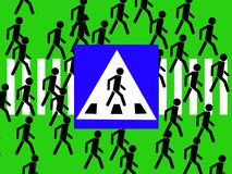 Road Sign. The Pedestrian Crossing Road Sign Stock Photo