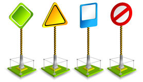 Road sign. Sign - the index on road, empty form, basis from iron, vector illustration Stock Photo