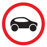 Road sign. The car in a white circle with a red strip on a circle Stock Photos