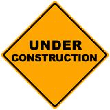 Road Sign. Orange road sign under construction -illustration Royalty Free Stock Images