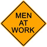 Road Sign. Orange road sign - men at work -illustration Stock Photography