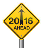 2016 Road Sign. 2016 ahead road sign vector design stock illustration