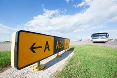 Road sign in the airport Stock Photography