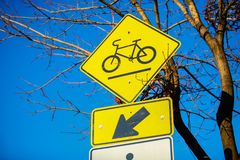 Road sign that allows bikes left royalty free stock images