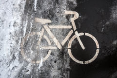 Road sign for amateurs of winter bicycle driving #6591 Royalty Free Stock Photo