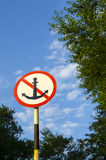 Road sign with an anchor. On the sign depicted anchor Stock Photography