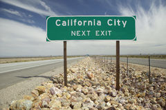 A road sign announcing arrival at California City, CA Stock Photo