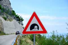 Road sign announcing a tunnel Royalty Free Stock Image