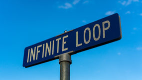 Road sign at Apple headquarters at Infinite loop in Cupertino. Stock Photography