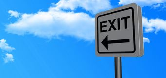 Road Sign with Arrow and Exit Stock Photos