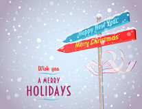 Road sign with arrows in Holiday directions. Concept of road sign with arrows in Christmas and New Year directions Stock Photography